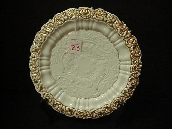"1213: Meissen Gilt Edged Plate: 10""D. with Fl"