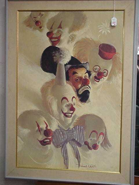 1317a Robert Owen Clowns Print On Board S