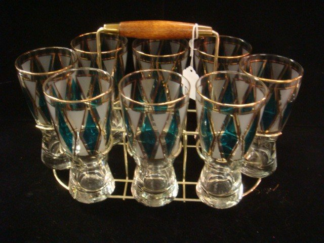 2: Eight Libby Diamond Pattern Glass, Brass/Wood Stand: