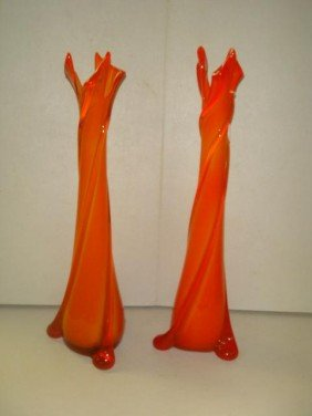 4: Pair of Orange Stretched Art Glass Hand-blown Vases: