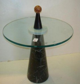 6: 1950's Marble Base Glass Top Round Side Table: