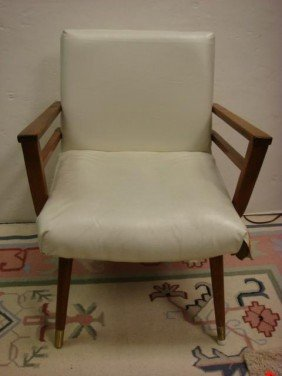 7: White Pleather Wood Framed Arm Chair with Foot Stool