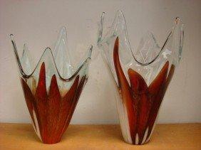 10: Pair of Umber and White Glass Handkerchief Vases: