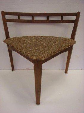 Danish Modern Open Back Corner Side Chair: