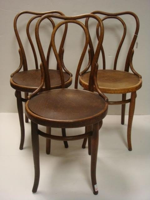 84: Four Oak THONET Bentwood Side Chairs, Pressed Seats