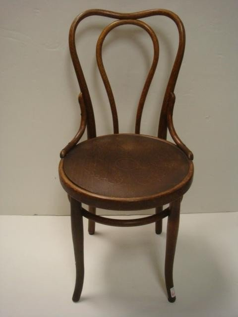 84: Four Oak THONET Bentwood Side Chairs, Pressed Seats - 2