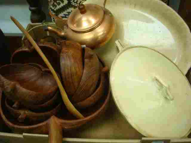 181: Copper Teapot, Wooden Salad Bowl Set, Goodwin