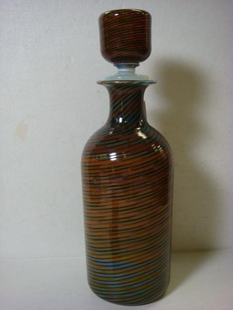 1: Murano Swirled Art Glass Bottle with Stopper: