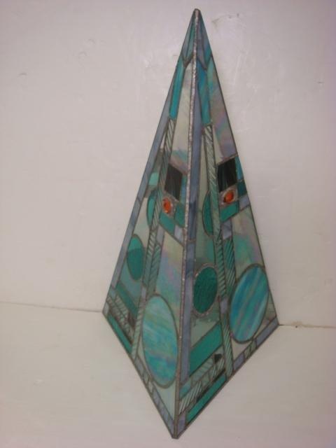2: Leaded Glass Bejeweled Art Glass Pyramid: