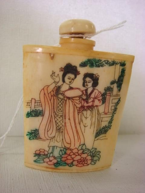 4: Qing Dynasty Hand Painted Bone and Ivory Snuff Bottl