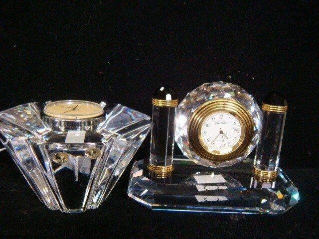 6: ORREFORS and SWAROVSKI Crystal Quartz Clocks: