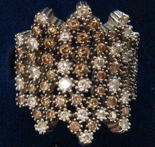 8: LEVIAN 14KT 2.29CT Diamond Cluster Ring: