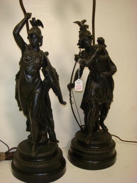 10: Pair of Ancient Warrior & Goddess Spelter Lamps: