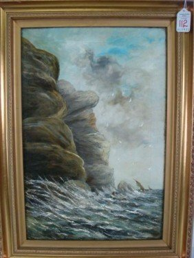 Initialed HENRY PHELPS Seascape Oil On Canvas: