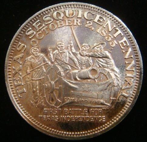 329E: One OZ Fine Silver TEXAS SESQUICENTENNIAL Coin: