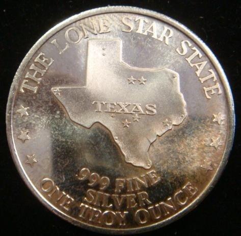 329E: One OZ Fine Silver TEXAS SESQUICENTENNIAL Coin: - 2