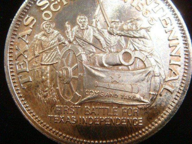329E: One OZ Fine Silver TEXAS SESQUICENTENNIAL Coin: - 3