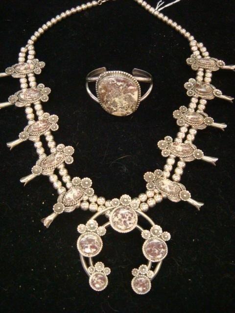 12: Signed KV Sterling Squash Blossom Necklace, Bracele