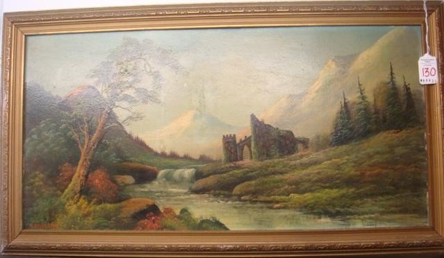 130: Signed M HASSELBAR Oil on Canvas Board Landscape: