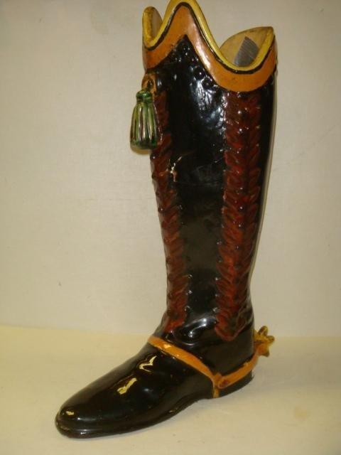 136: 19th C. Polychrome Glossy Glaze Ceramic Boot Vase: