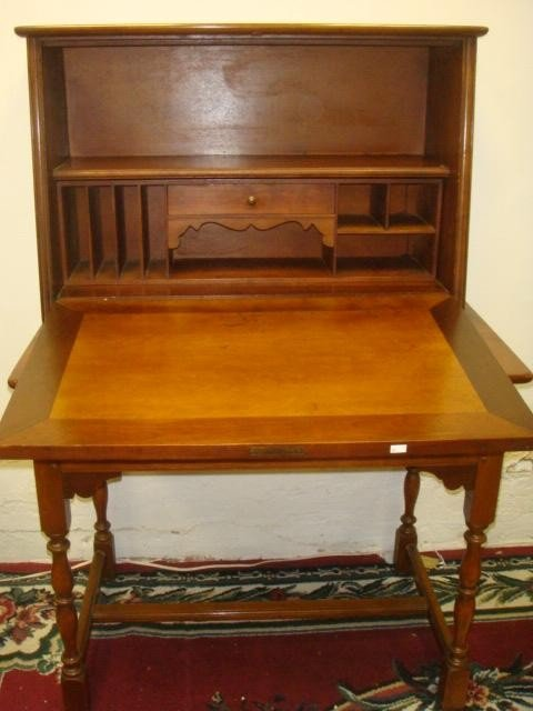 138: Two Piece Cherry Fall Front Desk with Storage Draw