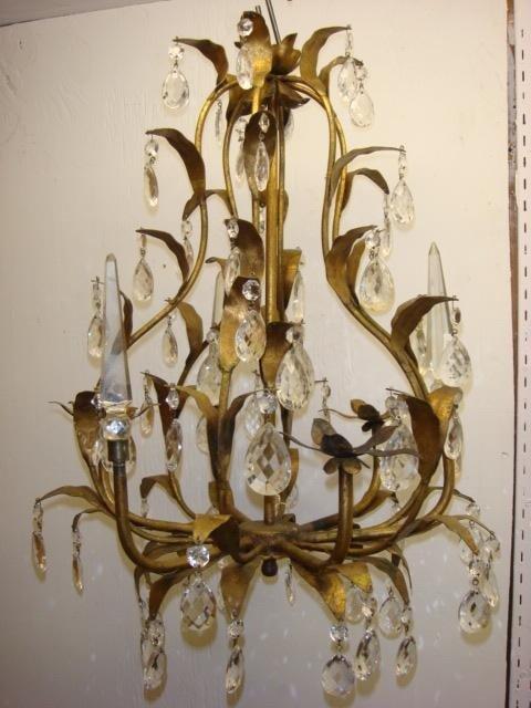 139: Gilt Bronze. Crystal Louis XV Style Hanging Sculpt