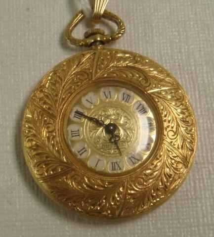 143: 18KT Yellow Gold TOLIRO Fancy 17 Jewel Pocket Watc