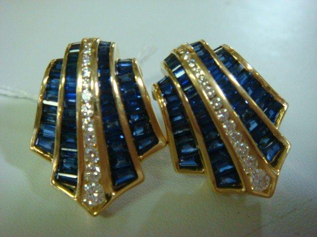 147: CHARLES KRYPELL 18K Sapphire and Diamond Earrings: