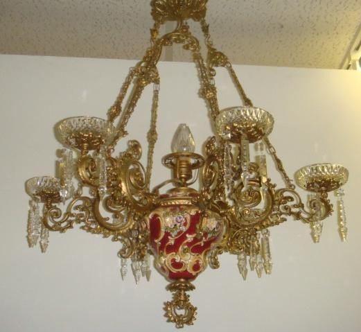 19: Majolica Chandelier with Brass Candle Arms: