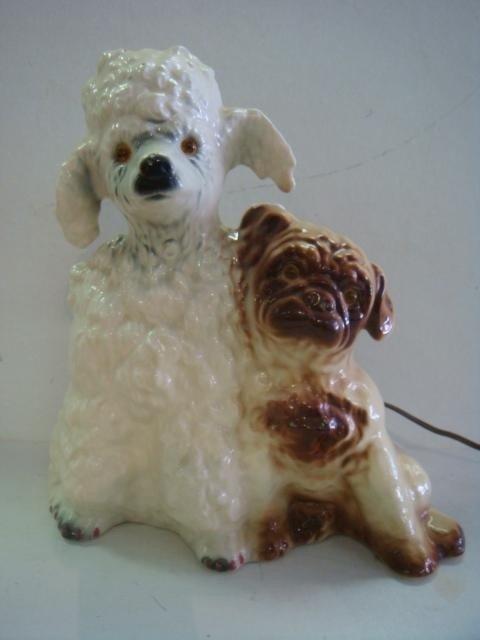 140: 1950'5 KRON Poodle and Pug Ceramic TV Lamp: