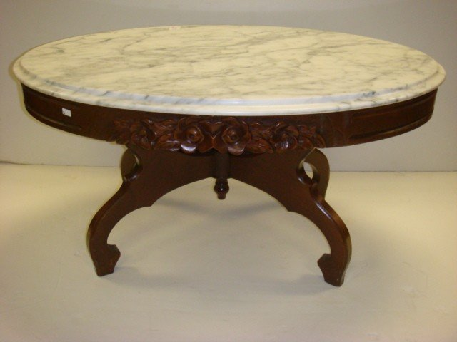 Rose Carved Marble Top Coffee Table by VICTORIAN