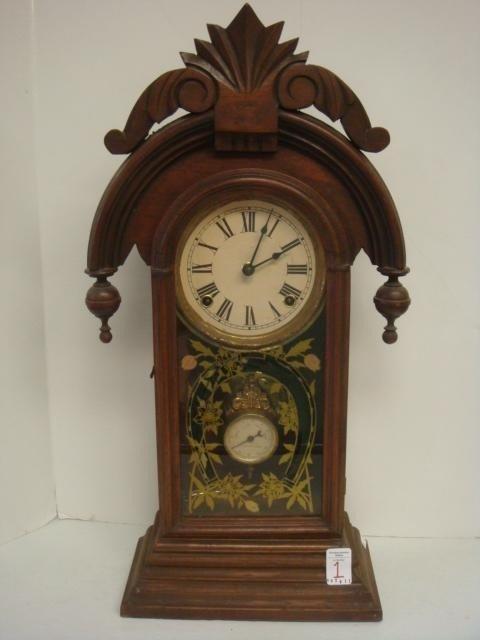 1: 1881 Walnut Gingerbread Kitchen Clock with Horseshoe