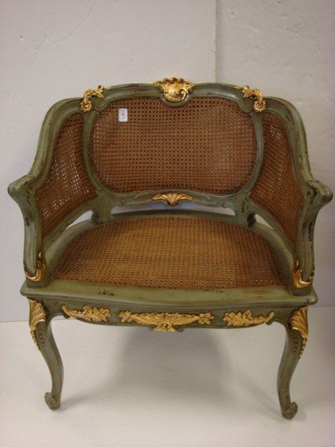 3: French and Gilt Barrel Back Cane Armchair.