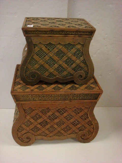 4: Two Graduated Wicker Storage Chests.