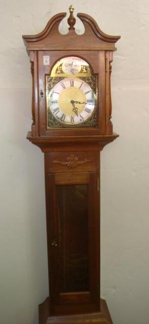 6: Mahogany Tall Pediment Top Case Clock, Westminster