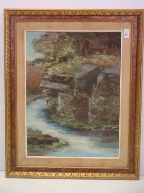 "10: HELEN S. MEYER Oil on Canvas, ""The Ledge""."