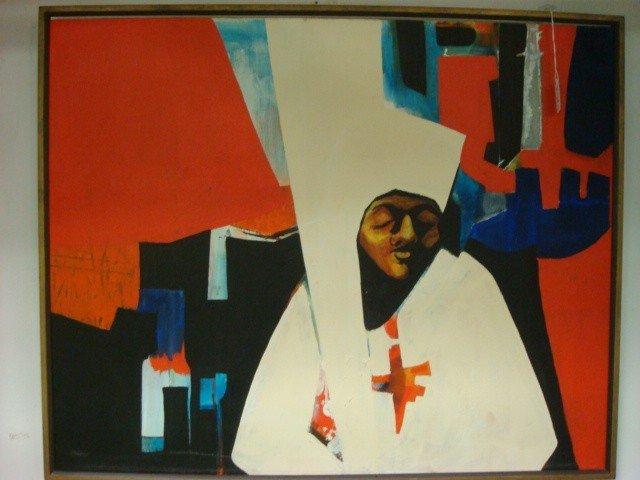 14: Artist Signed Mixed Medium Portrait on Canvas:
