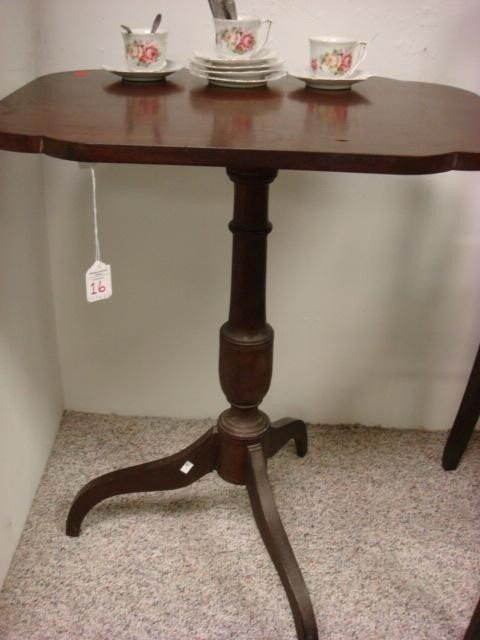 16: Mahogany Shaped Top Side Table on 3 Way Base: