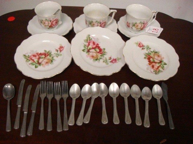 18: Rose Transfer Child's Porcelain Tea Set:
