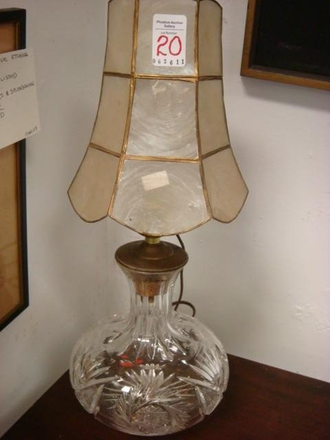 20: Clear Cut Crystal Decanter Lamp, Capiz Shell Shade: