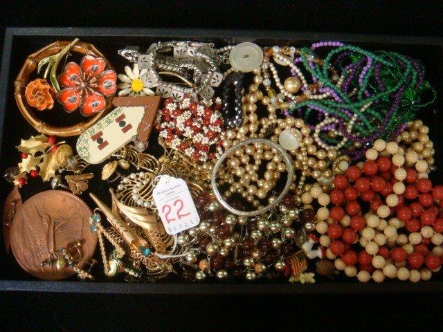 22: Assortment of Vintage Costume Jewelry: