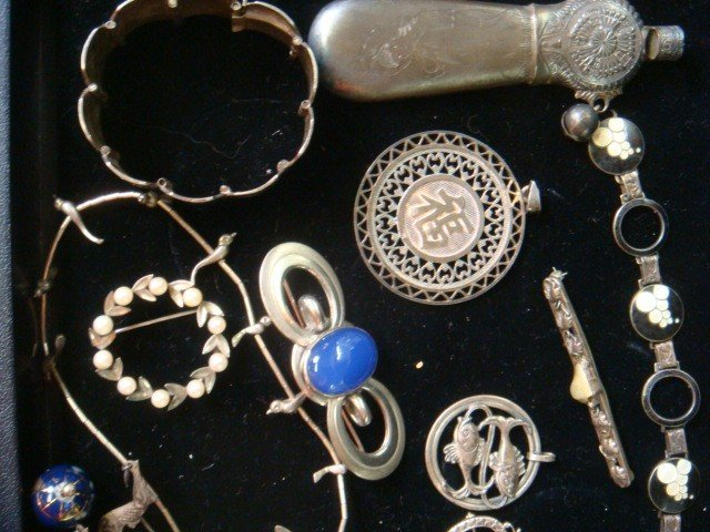 23: Vintage Silver and Enameled Costume Jewelry: