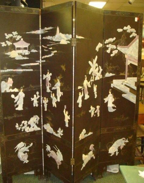 152: Four Panel Asian Folding Screen Set, with Jade:
