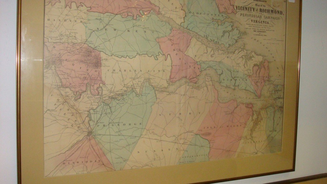 453: JOHNSON War Department Map of Richmond and Peninsu