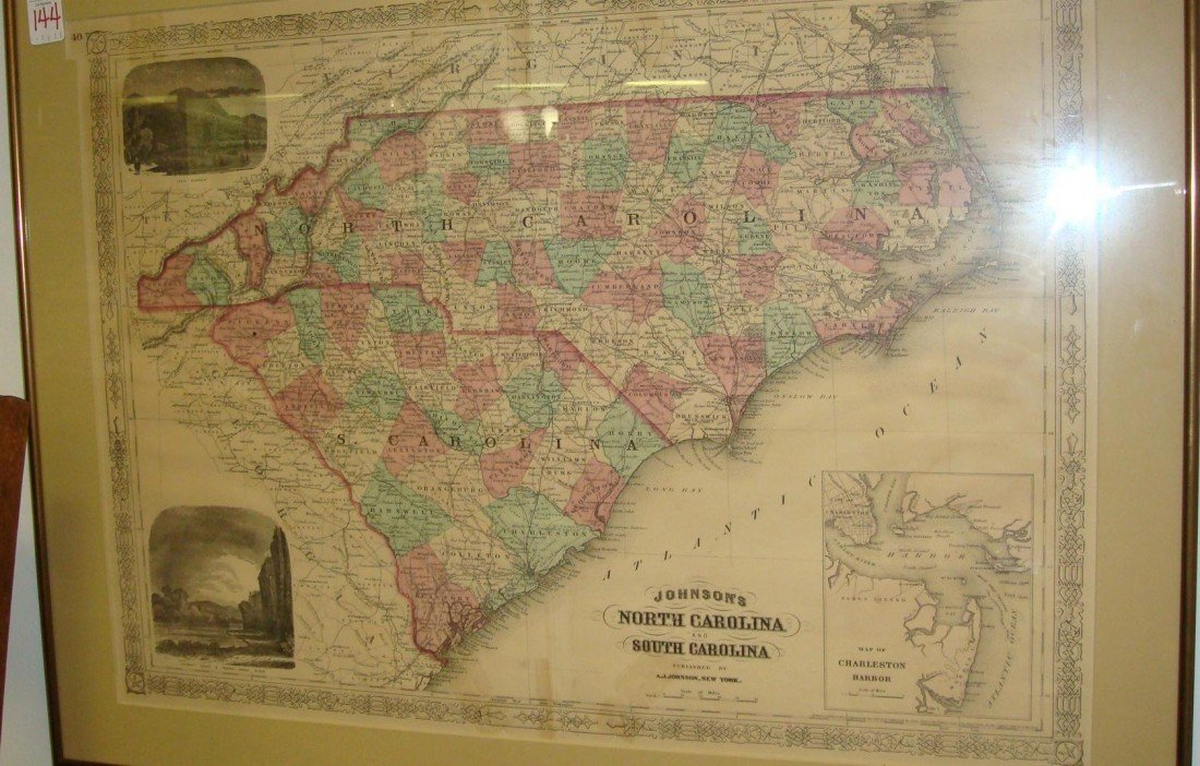 454: A J JOHNSON North and South Carolina Map: