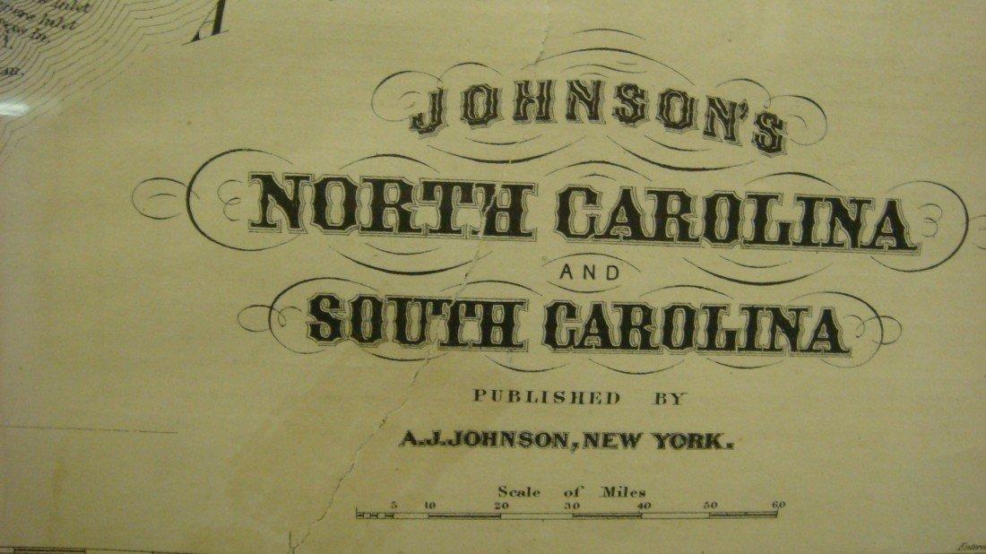 454: A J JOHNSON North and South Carolina Map: - 2