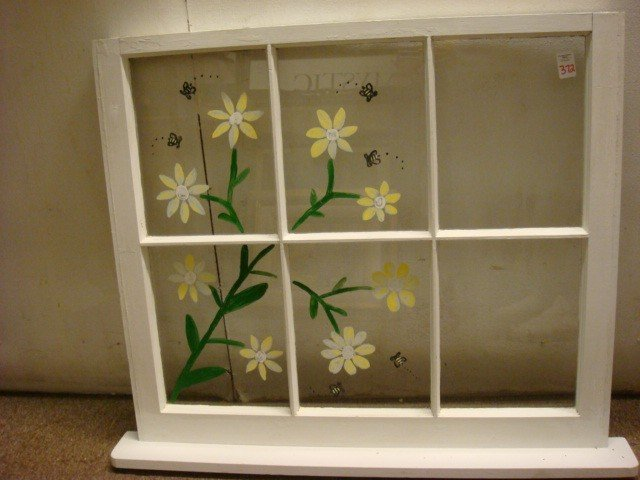 459: Reverse Painted Floral and Bee Window.