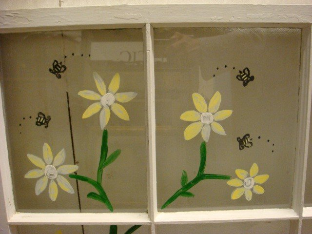 459: Reverse Painted Floral and Bee Window. - 2