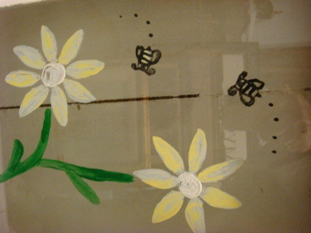 459: Reverse Painted Floral and Bee Window. - 3