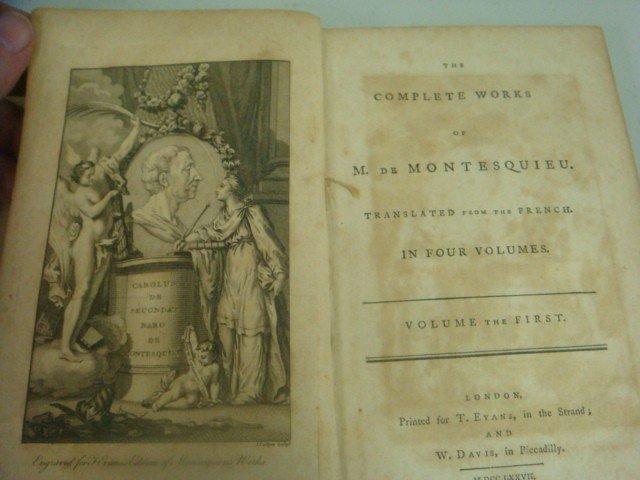 461: 1777 Antique Books, THE WORKS OF M de MONTESQUE: